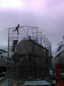 Scaffoldin a Full Boat USA Shrinkwrap