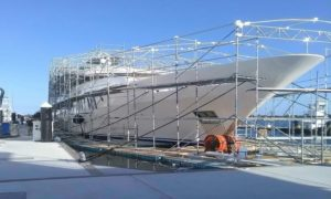 Boat Scaffolds and Shrinkwrap on Floats
